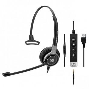 SC 635 USB / Micro-casque filaire monaural : jack 3.5 mm et USB. Contrôle des