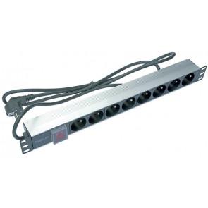 Bandeau d'alimentation ALU 8PC Noir Inter + Voyant + cordons 2m 16A - Modulaire