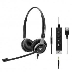SC 665 USB / Micro-casque filaire binaural : jack 3.5 mm et USB. Contrôle des