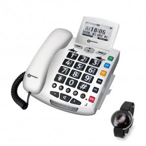Téléphone Filaire SERENITIES avec nouvelle télécommande Design BLANC