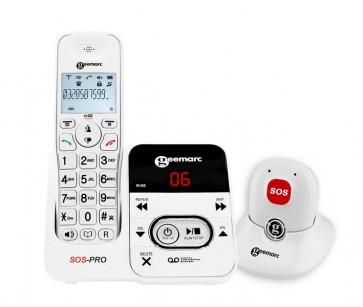 Téléphone DECT AMPLIDECT 295 SOS-PRO + Médaillon DECT d'appel d'urgence BLANC
