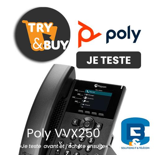 Testez gratuitement  Poly VVX 250 disponible chez bureautique et communication