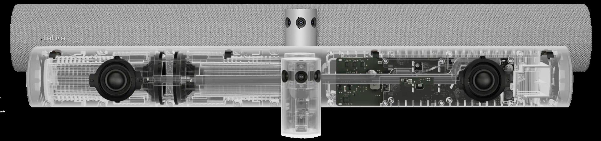 La PanaCast 50 est munie de huit microphones professionnels et de quatre haut-parleurs puissants signés Jabra – deux woofers 50 mm et deux tweeters 20 mm.
