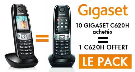 B&C vous propose le Gigaset C620H 10 + 1 Gratuit ! Des TÉLÉPHONES PERFORMANTS pour votre entreprise. 10 téléphones C620H + 1 Gratuit
