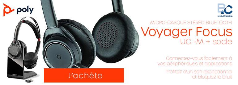 PLANTRONICS Voyager Focus UC -M + socle, les écouteurs professionnels pour un confort optimal et efficace