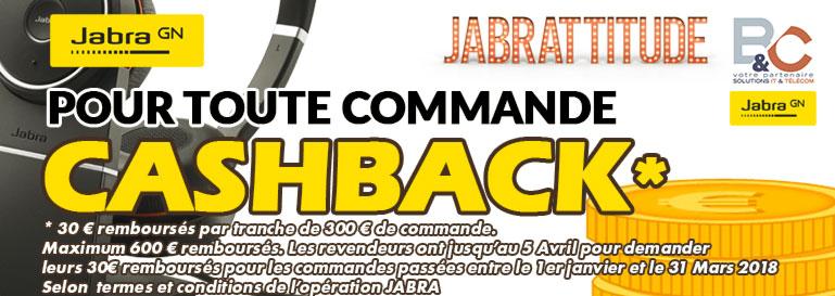 Pour toute commande de 300 € de produits Jabra, JABRA vous rembourse 30€ par tranche de 300 euros (dans la limite de 600€ de remboursement par revendeur). COMMANDEZ chez nous et  faites votre demande de remboursement directement en ligne.