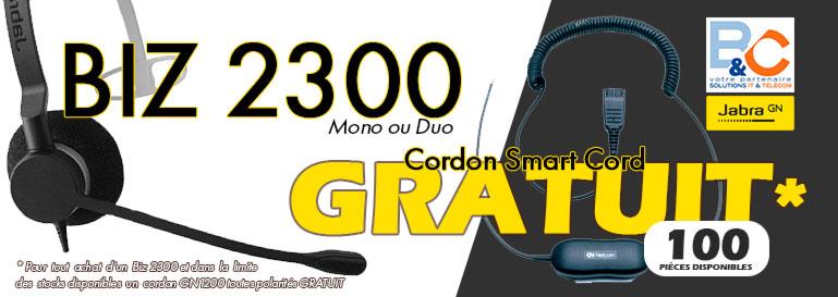 Le casque Biz 2300 et le cordon OFFERT est une offre pour Professionnels et Revendeurs. Recevez un cordon toute polarité pour chaque achat d'un casque Jabra Biz 2300 Mono ou Duo.