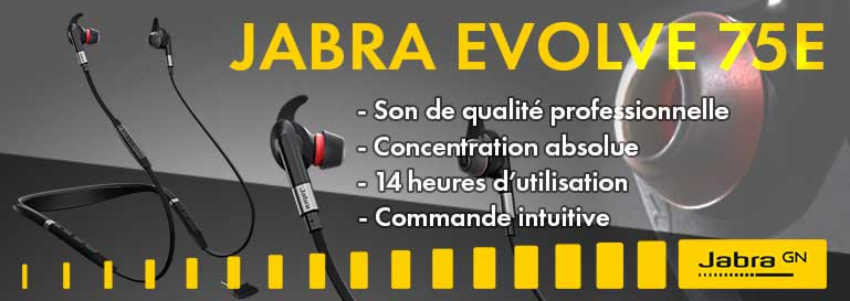 Jabra Evolve 75E, écouteurs professionnels confortable avec arceau pour la nuque