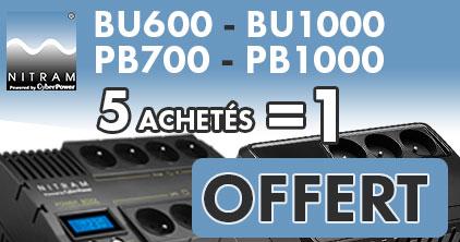 5 onduleurs achetés Nitram PB700 - PB1000 et BU600 - BU1000 = 1 onduleur offert