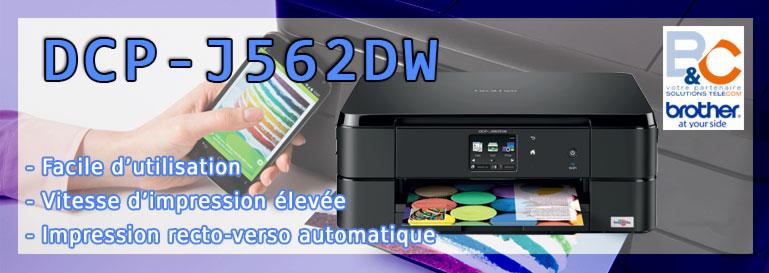 Imprimante DCP-J562DW Brother multifonction 3-en-1 jet d'encre couleur Wifi