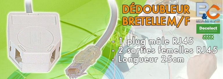 Dédoubleur BRETELLE Mâle/Femelle avec cordon 45/78 - tel/tel